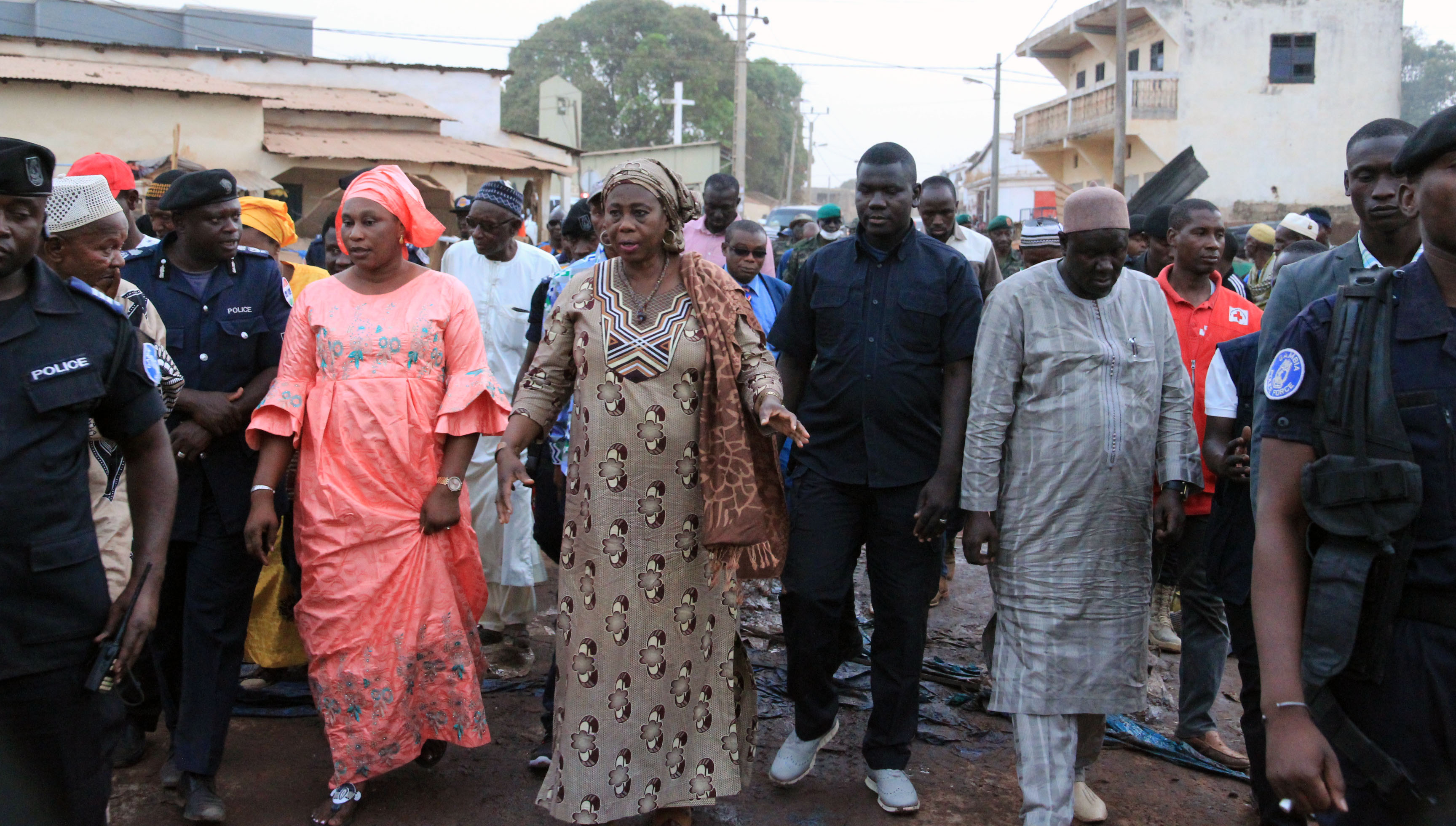 H.E. Dr. Isatou Touray at the Basse Market
